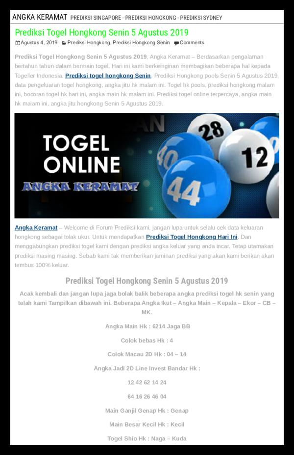PDF) Prediksi Togel Hongkong Senin 5 Agustus 2019 | ANGKA KERAMAT