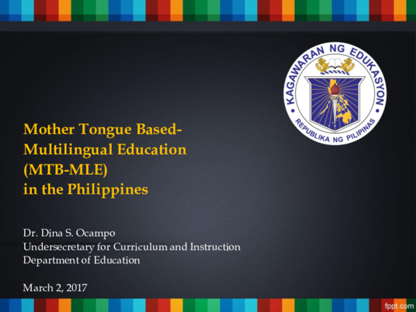 PDF) Mother Tongue Based- Multilingual Education (MTB-MLE