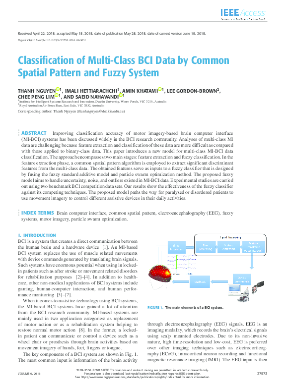 PDF) Classification of Multi-Class BCI Data by Common Spatial