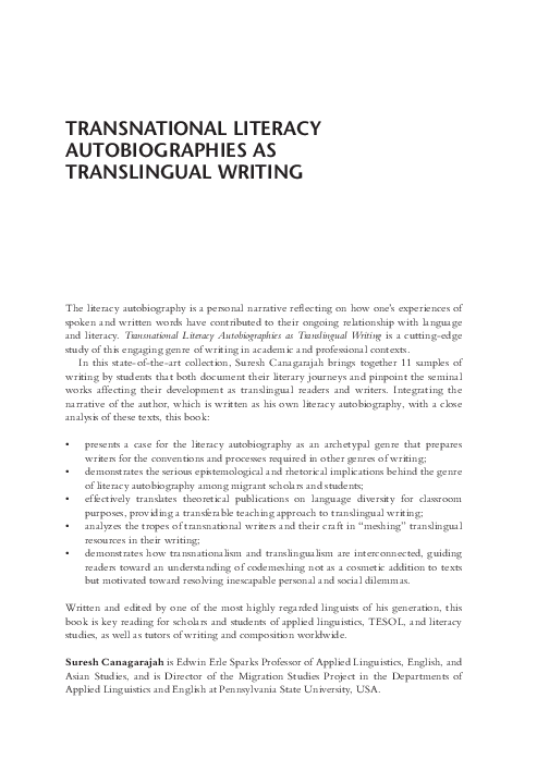 Learning English Essay Writing  Example Of A College Essay Paper also Topics For A Proposal Essay Pdf Transnational Literacy Autobiographies As Translingual  English Essay Internet