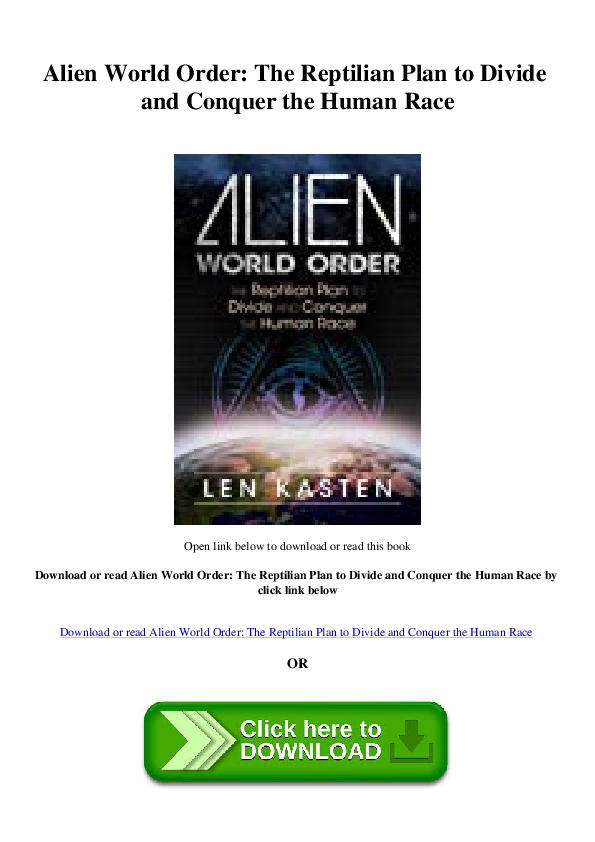 Pdf E Book Alien World Order The Reptilian Plan To Divide