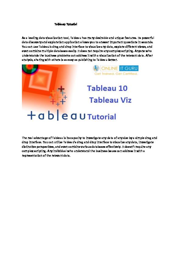 PDF) Tableau Tutorial | meenati biswal - Academia edu