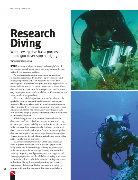 PDF) Research Diving - where every dive has a purpose and