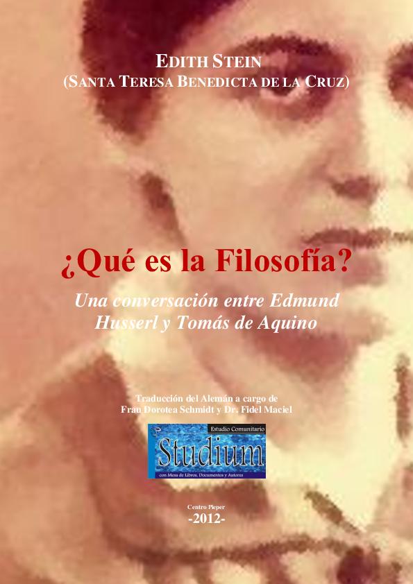 Pdf Edith Stein Qué Es La Filosofía Jonathan Granados