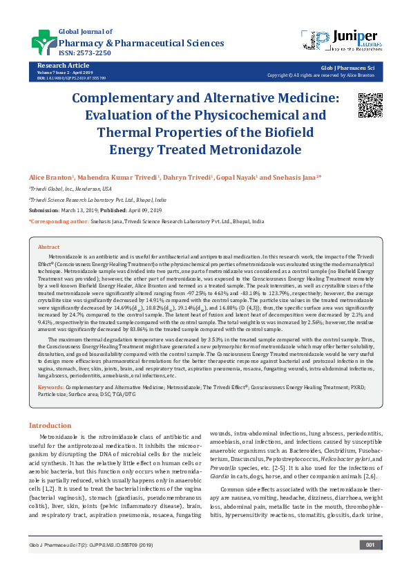 PDF) Complementary and Alternative Medicine: Evaluation of