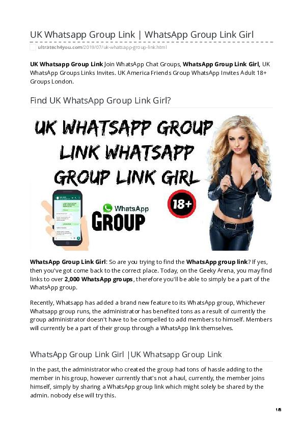 PDF) New WhatsApp Group Link | UK WhatsApp Group Link Girl