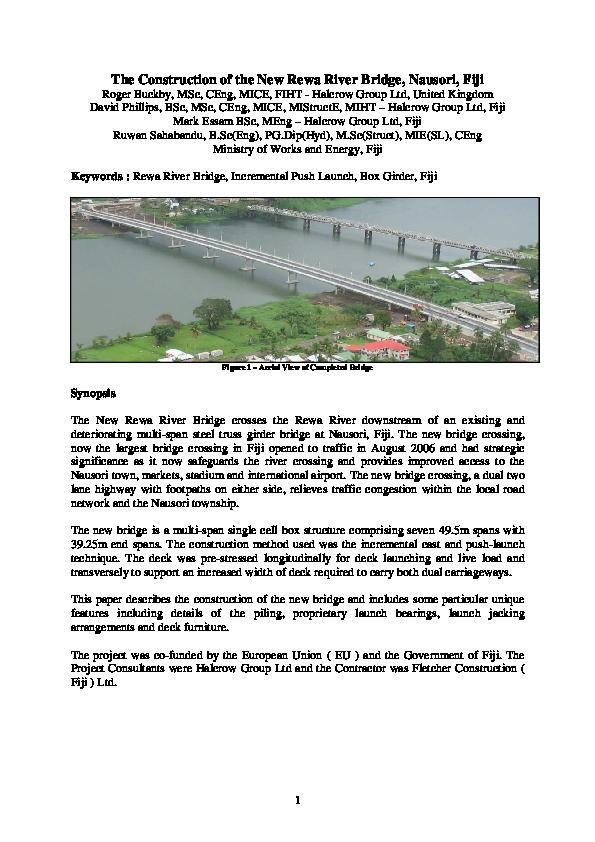 PDF) The Construction of the New Rewa River Bridge, Nausori