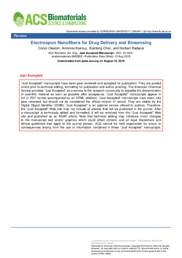 PDF) Electrospun Nanofibers for Drug Delivery and Biosensing