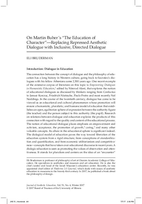 Pdf On Martin Buber S The Education Of Character Replacing Repressed Aesthetic Dialogue With Inclusive Directed Dialogue Introduction Dialogue In Education Eli Bruderman Academia Edu