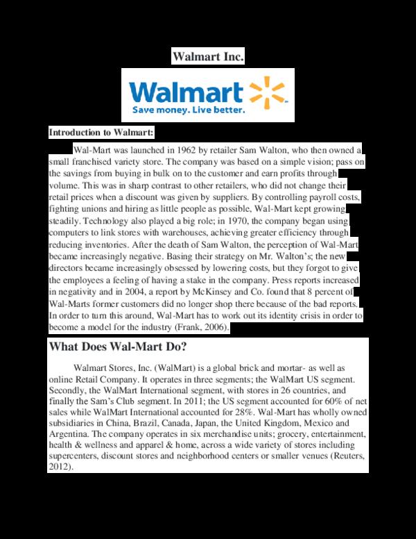 DOC) Introduction to Walmart | Logesh Waran - Academia edu