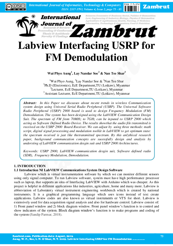 Pdf Labview Interfacing Usrp For Fm Demodulation Wai Phyo Aung Academia Edu