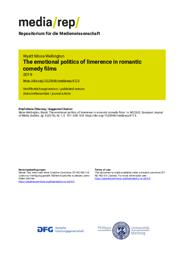 """PDF) """"The emotional politics of limerence in romantic comedy"""