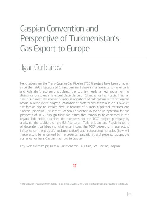 "PDF) Ilgar Gurbanov, ""Caspian Convention and Perspective of"