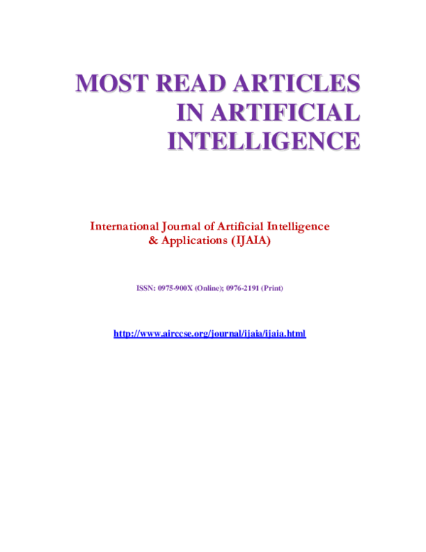 PDF) MOST READ ARTICLES IN ARTIFICIAL INTELLIGENCE