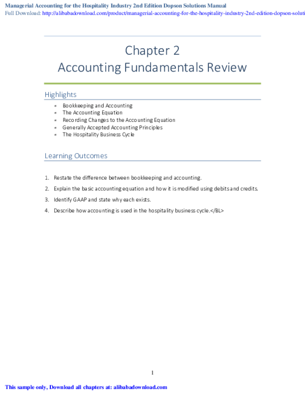 PDF) Managerial Accounting for the Hospitality Industry 2nd