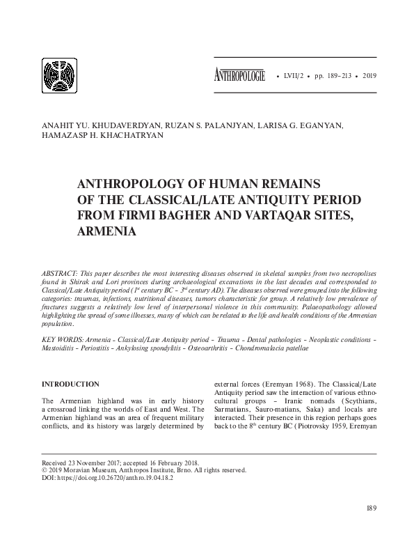 PDF) ANTHROPOLOGY OF HUMAN REMAINS OF THE CLASSICAL/LATE