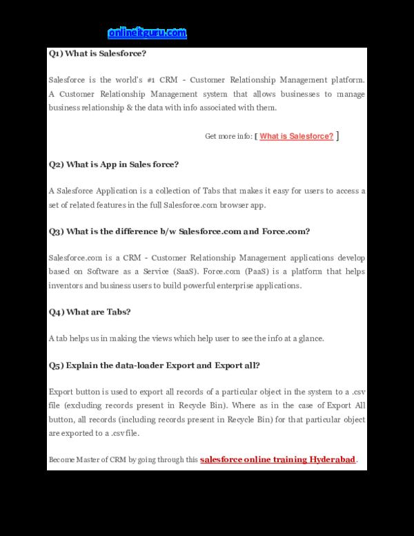 PDF) Salesforce Admin interview questions   akhila priya