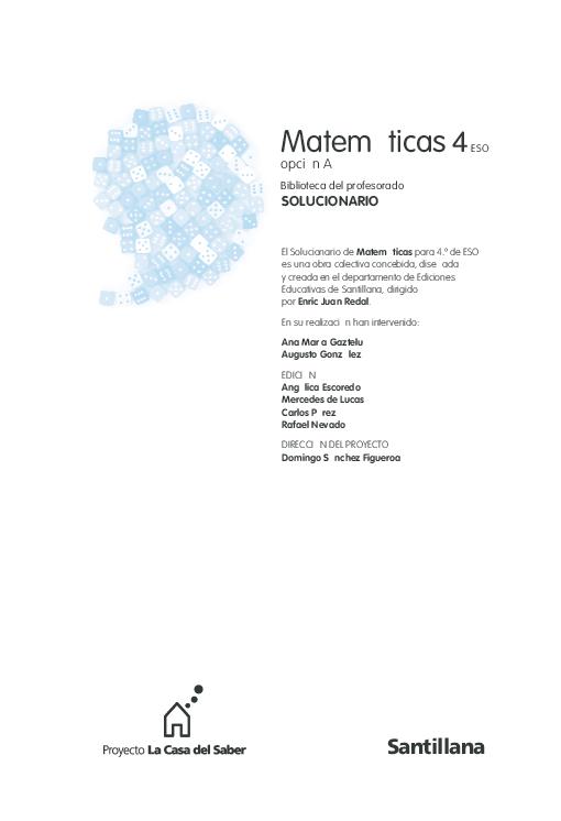 Pdf Matemáticas 4 Eso Biblioteca Del Profesorado Solucionario Opción A Nicolas Figueroa Cardenas Academia Edu