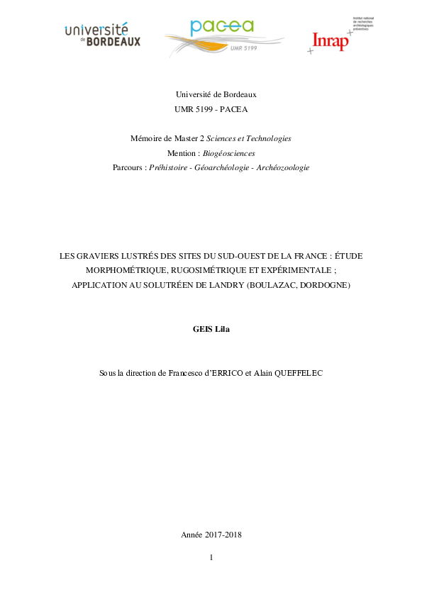 Vitesse datation RGV