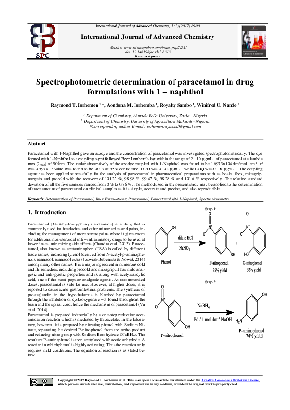 Pdf International Journal Of Advanced Chemistry Spectrophotometric Determination Of Paracetamol In Drug Formulations With 1 Naphthol Raymond Iorhemen Academia Edu