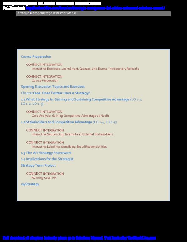 PDF) Strategic Management 3rd Edition Rothaermel Solutions