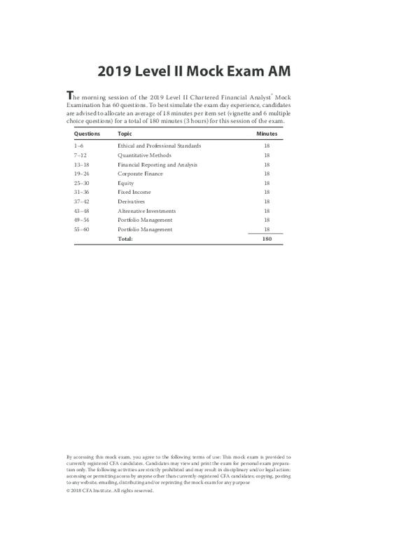 Pdf 2019 Level Ii Mock Exam Am Jingyi Wang Academia Edu