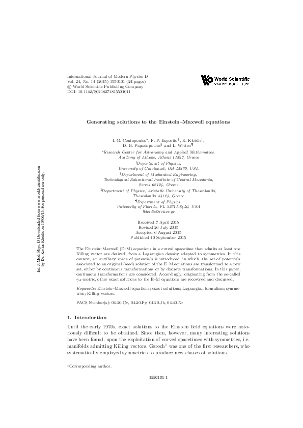 PDF) Generating solutions to the Einstein-Maxwell equations