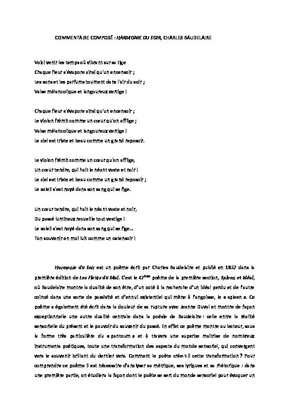 Pdf Commentaire Composé Baudelaire Harmonie Du Soir