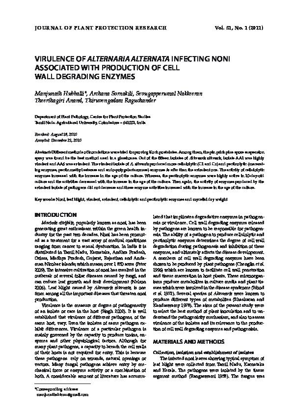 PDF) Virulence of Alternaria Alternata Infecting Noni