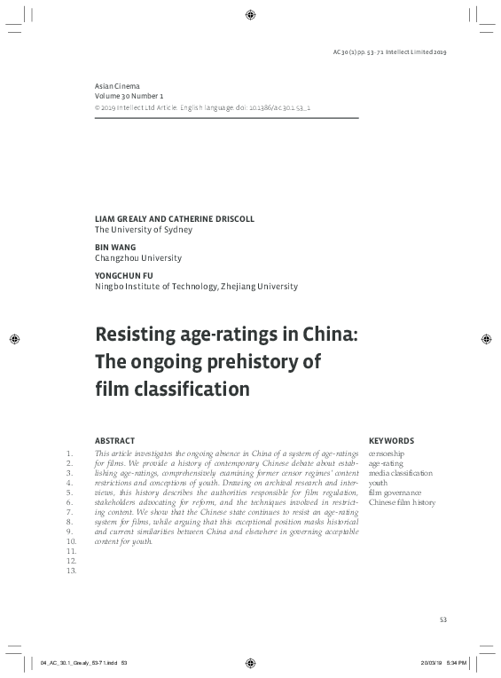Pdf Resisting Age Ratings In China The Ongoing Prehistory Of Film Classification Catherine Driscoll Academia Edu