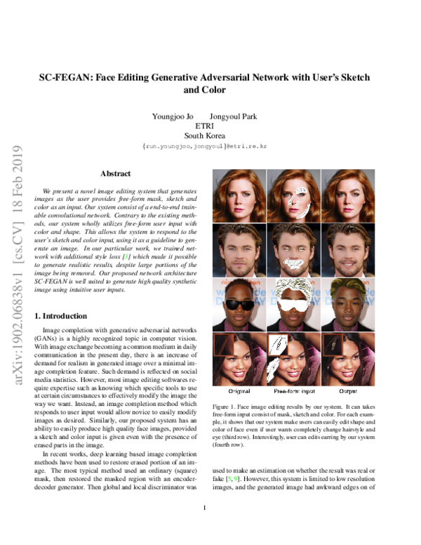 Pdf Sc Fegan Face Editing Generative Adversarial Network With User S Sketch And Color Dũng đỗ Trung Academia Edu