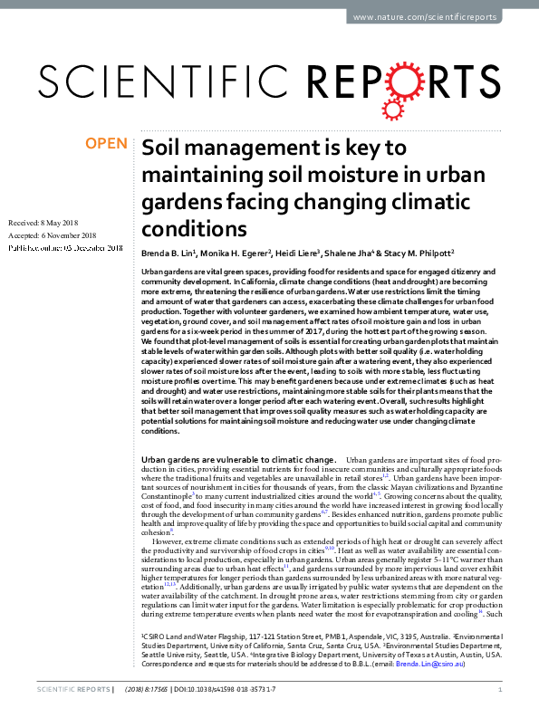 PDF) Soil management is key to maintaining soil moisture in
