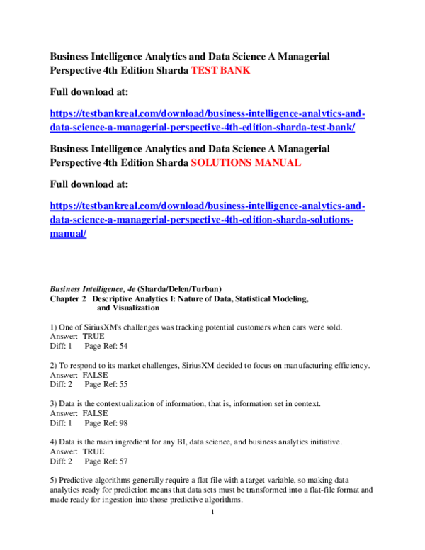 PDF) Business Intelligence Analytics and Data Science A