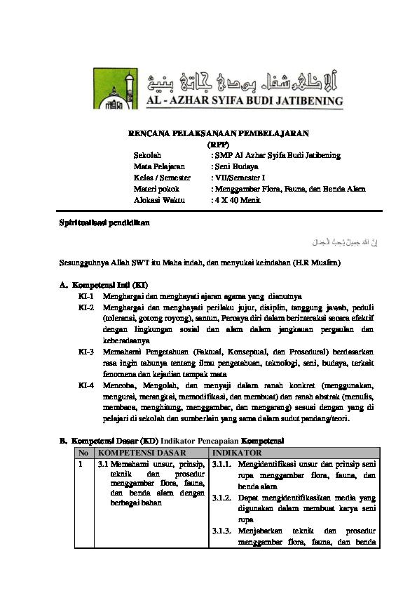 Doc Rpp Kelas Vii 2019 2020 Seni Rupa Bondhan Herywangsa Academia Edu