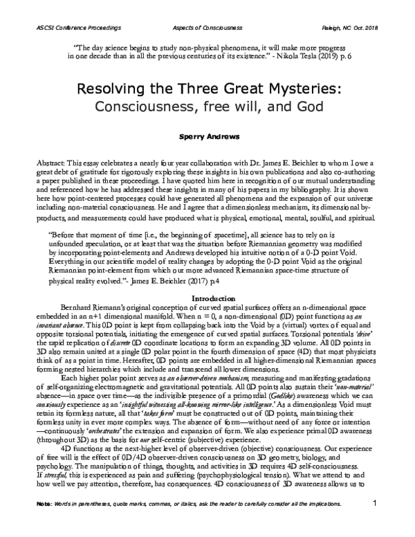 PDF Resolving the Three Great Mysteries Consciousness