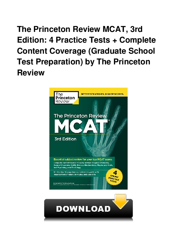 Pdf  The Princeton Review Mcat  3rd Edition  4 Practice