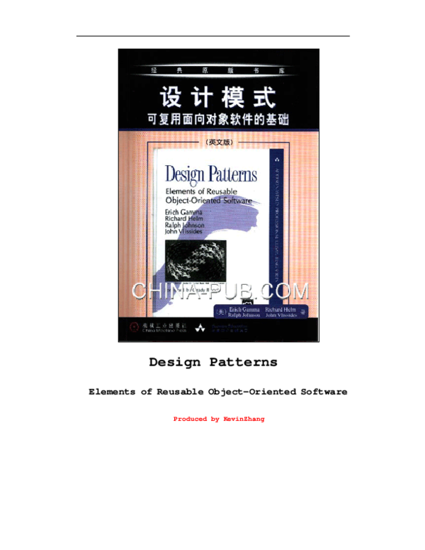 Pdf Design Patterns Elements Of Reusable Object Oriented Software Produced By Kevinzhang Design Patterns Elements Of Reusable Object Oriented Software 2 Le Văn Thuận Academia Edu