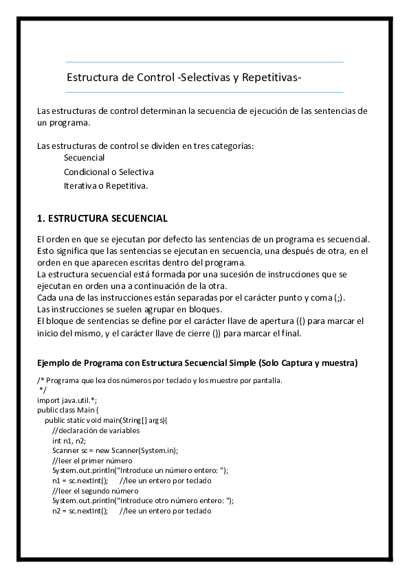 Doc Estructura De Control Selectivas Y Repetitivas Omar