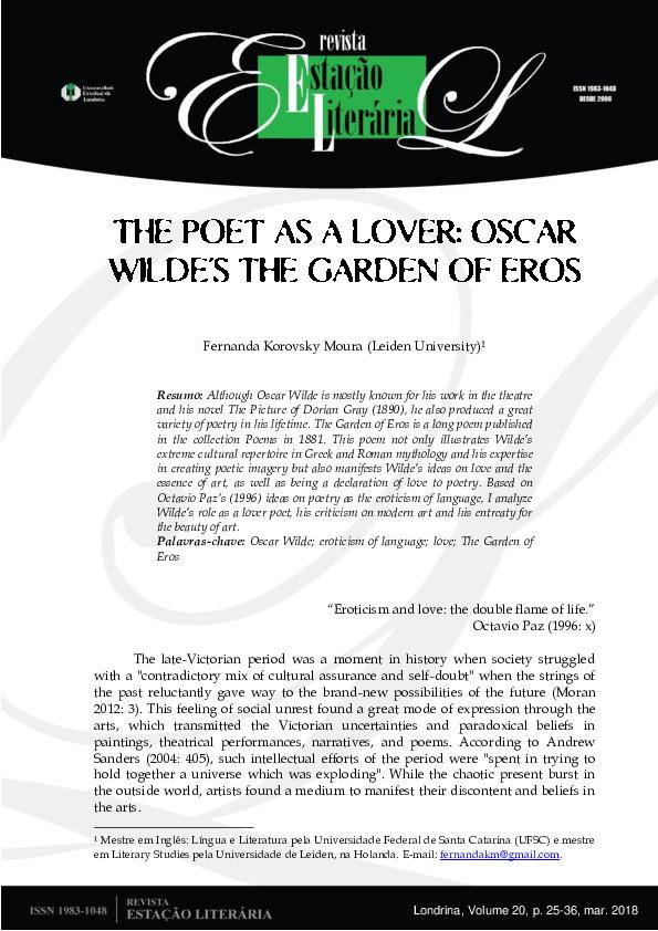 Pdf The Poet As A Lover Oscar Wildes The Garden Of Eros