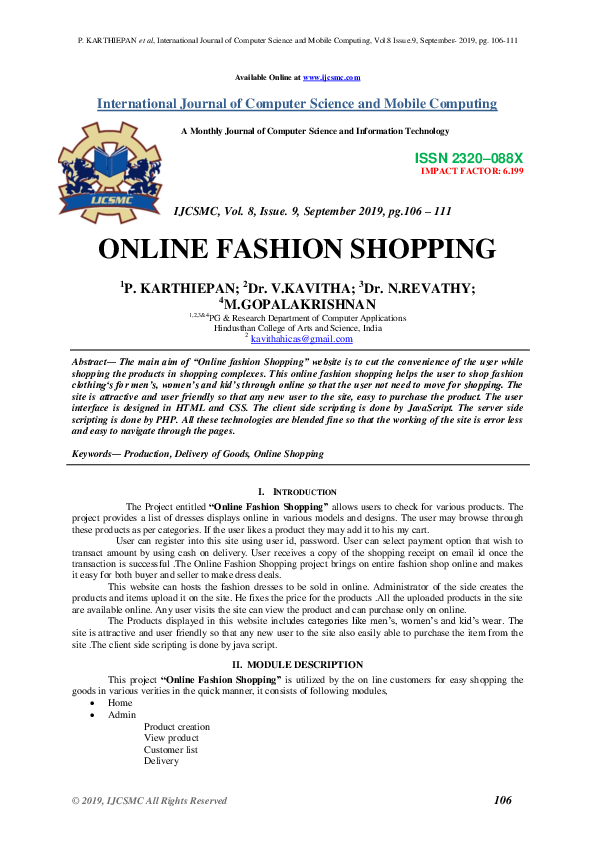 Pdf Online Fashion Shopping Ijcsmc Journal Academia Edu
