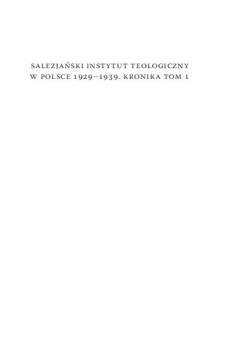Pdf Salezjański Instytut Teologiczny W Polsce 19291939