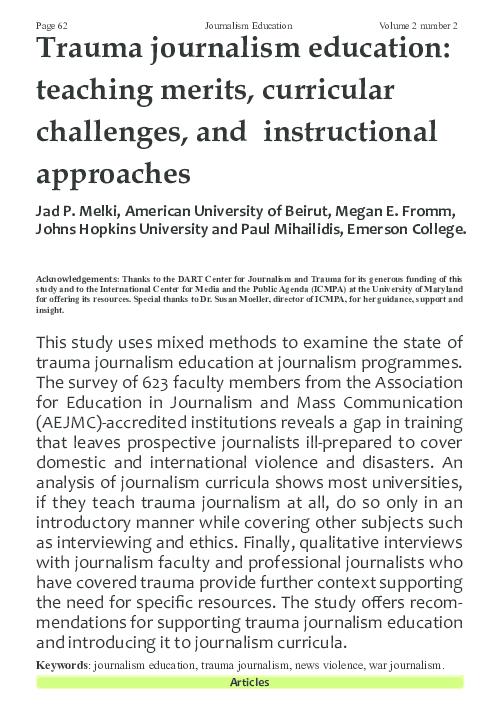 Psychopathology Linked To Trauma Teachtrauma >> Pdf Trauma Journalism Education Teaching Merits