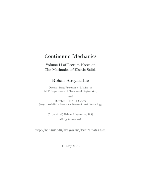 PDF) Continuum Mechanics Volume II of Lecture Notes on The ...