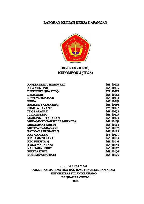 Pdf Laporan Kuliah Kerja Lapangan Universitas Tulang Bawang Arifin Ar Academia Edu