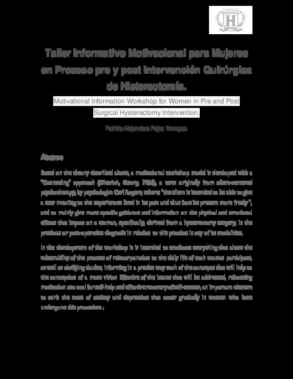 Pdf Taller Informativo Motivacional Para Mujeres En Proceso