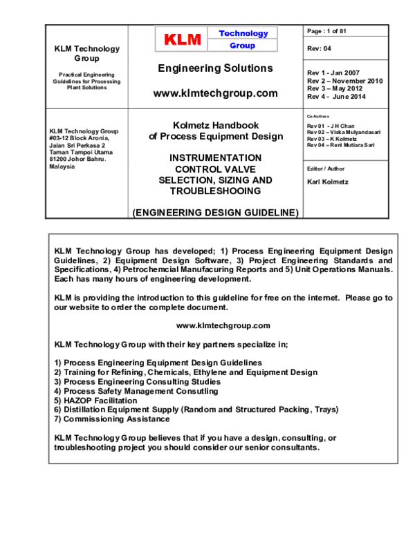Pdf Instrumentation Control Valve Selection Sizing And Troubleshooting Kolmetz Handbook Of Process Equipment Design Karl Kolmetz Academia Edu