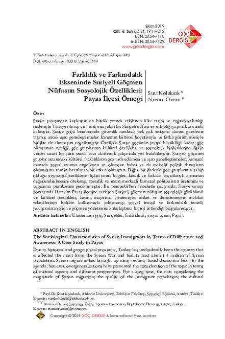 PDF) Farklılık ve Farkındalık Ekseninde Suriyeli Göçmen Nüfusun Sosyolojik  Özellikleri: Payas İlçesi Örneği   Suat Kolukirik - Academia.edu