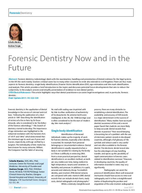 Forensic Dentistry Research Papers Academia Edu