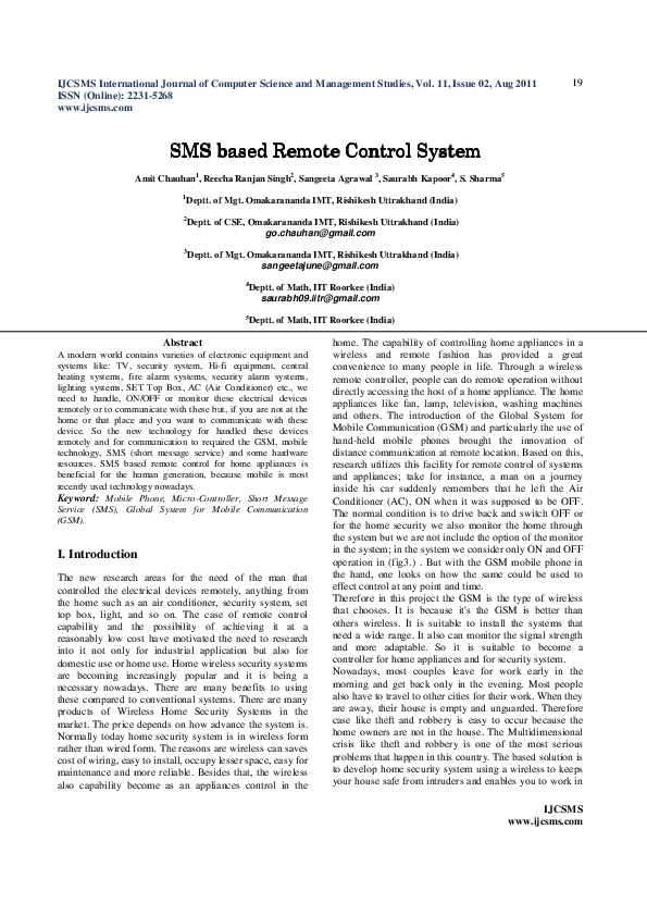 PDF) SMS based Remote Control System | Chukwuwezam Obanor