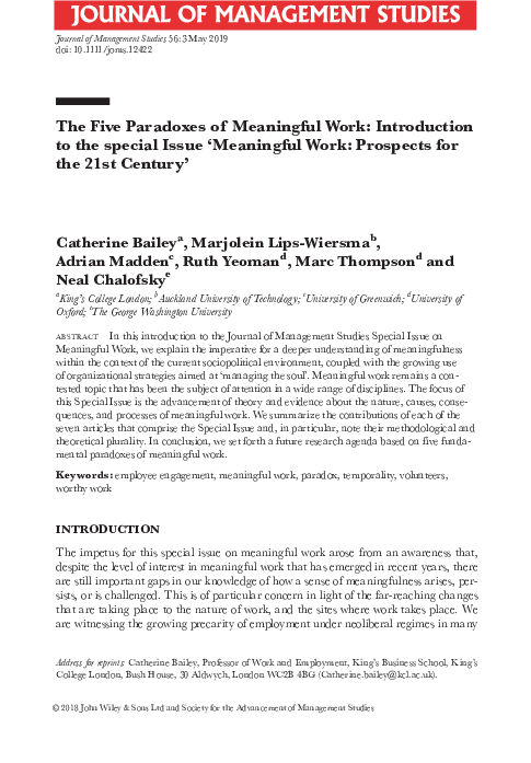 Pdf The Five Paradoxes Of Meaningful Work Introduction To The Special Issue Meaningful Work Prospects For The 21st Century Marjolein Lips Wiersma Academia Edu